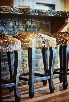 Axis Hide Bar Stools - Rustic Bar Furniture - Your Western Decor Rustic Home Interiors, Rustic Home Design, Rustic Decor, Rustic Elegance Decor, Rustic Homes, Rustic Home Plans, Rustic Patio, Rustic Cabins, Log Cabins