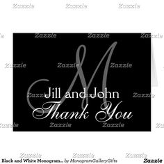 Black and White Monogrammed Thank You Card