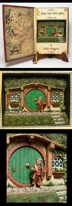 Bilbo Baggins diorama in a book - artist? || miniature, room box, repurpose, clay