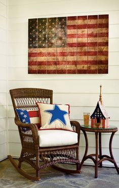 The inspiration for sister Sue's lake sign! Show your patriotism year round with our Rustic Flag Wall Decor, especially for of July decorations! 4th Of July Decorations, Outdoor Decorations, July Crafts, Porch Decorating, Decorating Ideas, Holiday Decorating, My Living Room, Red White Blue, Making Ideas