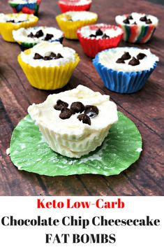Easy Keto Low-Carb Chocolate Chip Cheesecake Fat Bombs is a quick dessert recipe perfect for ketosis diets and lifestyles! These bombs are gluten-free and loaded with healthy fats and only have 1 gram of net carbs each! #Keto #KetoRecipes #ketodiet #lowcarb