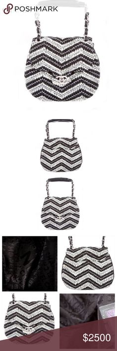 """CHANEL BAG Chanel Chevron Top Handle bag w silver-tone hardware, black leather accents throughout, single top handle w chain-link & leather accents & flap with turn-lock closure at front. Lining: Black Woven Lining. 1 pocket at interior wall w zip closure. Colors: Black & Silver Grey Chevron Tweed. Approx Measurements: Handle Drop 3.25"""", Height 6.25"""", Width 8"""", Depth 2.5"""". SOLD OUT! Condition: Excellent. Never used. Offers welcomed. Includes Authenticity card. CHANEL Bags"""