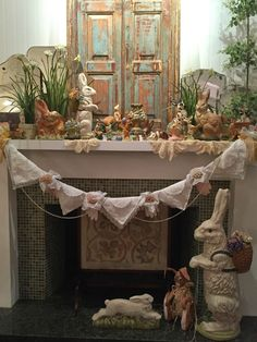 Easter Mantel With Handkerchief And Vintage Glove Swag! Via Purple Chocolat  Home
