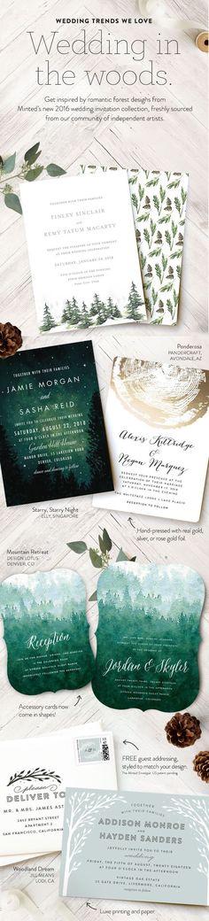 Evergreen in Love: Hand Drawn Wedding Invitation Printable or Woodsy Invite Woodland Invite Perfect DIY Summer Invite Country Invite