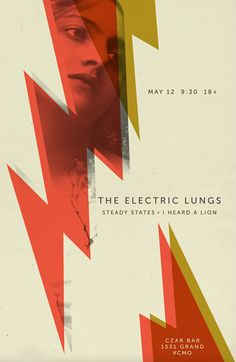 The Electric Lungs / Steady States / I Heard a Lion. Poster design: Eric Jones (2012).