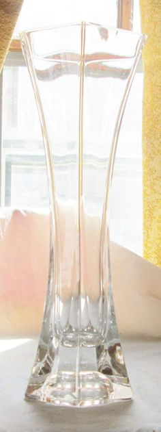 """Vintage Clear Crystal Hexagon Bud Vase 8"""" Tall With Inverted Base"""