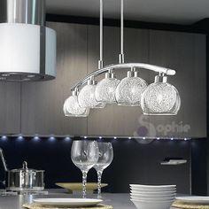 Lampadario lampada sospensione design moderno acciaio cromo vetro filo alluminio