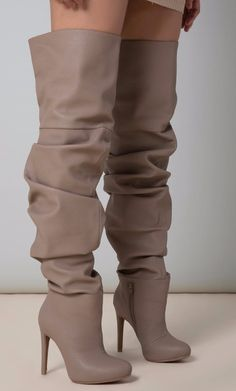 49ac54dcd2b CIARA OVER THE KNEE SLOUCH BOOTS IN TAUPE by Public Desire