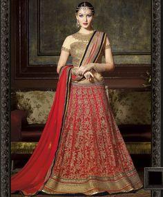Designer Reddish Maroon & Golden  Net / Raw Silk / Chiffon & Shantoon Semi Stitched Lehenga Choli with Dupatta-ras4-9207