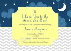 I Love You to the Moon and Back Invitation Baby by BloomParties, $8.00 Printable PDF