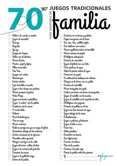 Checklist with 70 traditional games for family fun Au Pair, Traditional Games, Teaching Spanish, Elementary Spanish, Family Games, Kids Education, Kids And Parenting, Mom And Dad, New Books