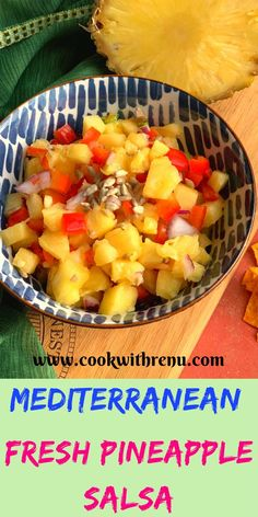 Mediterranean Fresh Pineapple Salsa is a simple and quick salsa Vegan Mexican Recipes, Vegetarian Recipes, Cooking Recipes, Healthy Recipes, Healthy Food, Healthy Junk, Yummy Recipes, Diet Recipes, Make Ahead Appetizers