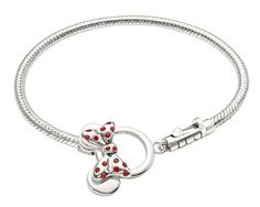 "Authentic Chamilia Disney ""Minnie Mouse Toggle Bracelet"" inches or 19 cm) Disney Pandora Bracelet, Pandora Rings, Pandora Bracelets, Pandora Jewelry, Pandora Charms, Pandora Beads, Disney Couture Jewelry, Disney Jewelry, Kids Jewelry"