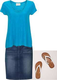 """""""Untitled #34"""" by hannahtay96 on Polyvore Blue T-shirt and jean skirt - comfort clothes"""