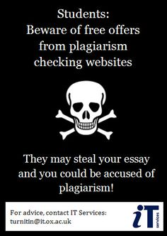 Warning poster regarding plagiarism checker websites