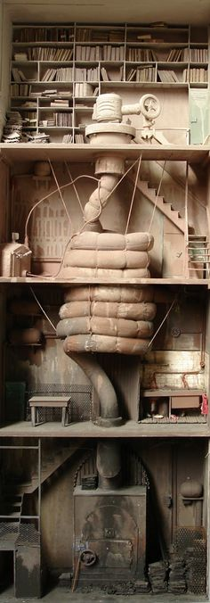 Marc Giai-Miniet – Le grand digerant - Marc Giai-Miniet French artist who makes creepy and fascinating dioramas that tend to feature reproductions of human organs, crime scenes, submarines in basements, and, wait for it … libraries.