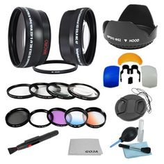 Essential Kit for NIKON DSLR (D5100 D3100 D40 D60 D80 D3000 D5000 D7000) Includes: 52mm 0.45x Wide Angle & 2.0x Telephoto High Definition Lenses + Filter Kit (UV, Polarizing, Fluorescent) + Macro Clos