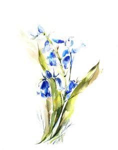 Watercolor Print of Bluebells Flowers, Watercolor Painting Art Print, Blue Green, Watercolour Wall Art