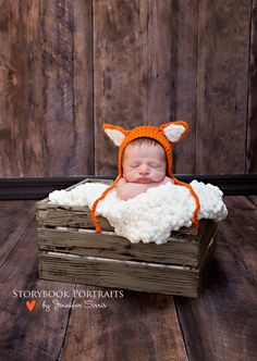 Fuzzy Fox Hat for Babies, Photo Prop Hat, Baby Fox Beanie, Animal Hat for Baby and Toddlers, Baby Gift    This darling baby fox beanie will look