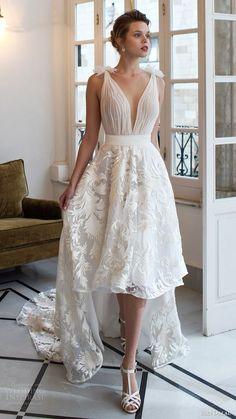 riki dalal bridal 2016 sleeveless tie straps deep vneck high low a line wedding dress / http://www.deerpearlflowers.com/deep-plunging-v-neck-wedding-dresses/2/