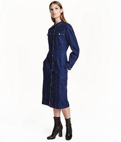 H&M Trend Conscious Midi Blue Denim Buttoned Dress sz 4 6 | eBay