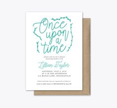 Once Upon a Time Baby Shower Invitation Printable  This listing is for a DIGITAL FILE of an A7 - 5x7 printable (unless different size specified). No paper invitation will be mailed to you, which is great for you because you can download it and dont have to worry about shipping costs! Purchase a digital announcement and make it your own! The digital file is delivered to you in a high resolution file format and is ready for you to print professionally or at home.  - To Order Printable - To…
