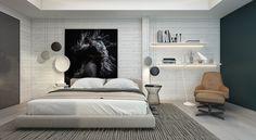 Cпальни с акцентированными стенами
