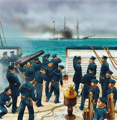 Combat Cherbourg, the end of the CSS Alabama as seen from the USS Kearsarge, courtesy of Peter Dennis. Military Art, Military History, Uss Kearsarge, Civil War Art, Navy Uniforms, Seven Years' War, Naval History, War Image, Model Ships