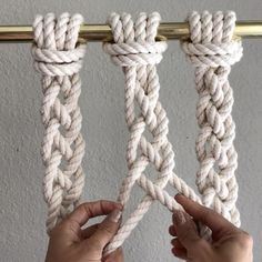 How to Tie a 4 Cord Braid // This video shows how to tie 4 cord braids. They're great to add texture at the end of a wall hanging, or used for Plant Hangers, and they're easy to do. I made them with 8 foot cords of 3/8th inch 3 strand cotton rope from @knotandropesupply // To start, fold two cords in half and attach them to the bar using the Larks Head knot. You now have four cords, 1-4. Grab cords 2 and 4 and lay them over the top of cords 1 and 3 as shown. Then lay cord 2 over the top of…
