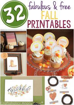 32 Fabulous Free Fall Printables! #freeprintable #printable #fall