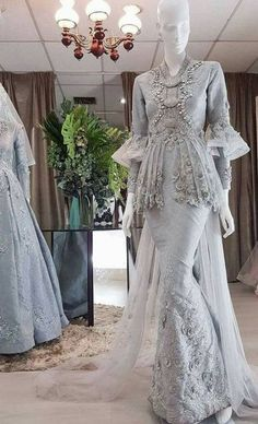 Kebaya Wedding, Muslimah Wedding Dress, Muslim Wedding Dresses, Muslim Brides, Wedding Dresses For Girls, Bridal Dresses, Hijab Gown, Hijab Dress Party, Kebaya Muslim