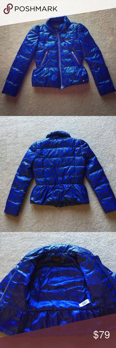 🍾BOGO FREE🍾 Girl's Juicy Couture Winter Coat Gorgeous royal blue and black leopard print. Gold hardware. Blue satin lining. Excellent condition. Juicy Couture Jackets & Coats Puffers