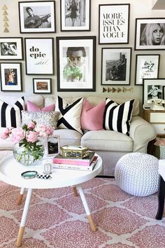 Pretty in Pink: An Apartment Refresh | Sticking to a simple black and white theme creates cohesion in this otherwise eclectic wall display | design happy blog
