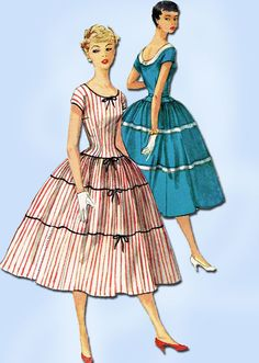 1950s Vintage Misses Dress Uncut 1955 Simplicity Sewing Pattern 1083 Size 12
