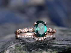 Emerald engagement ring Set-Solid 14k Rose gold-handmade Diamond ring-2pcs floral Wedding ring set-6x8mm Oval shape gemstone promise ring by willwork on Etsy https://www.etsy.com/listing/508346886/emerald-engagement-ring-set-solid-14k