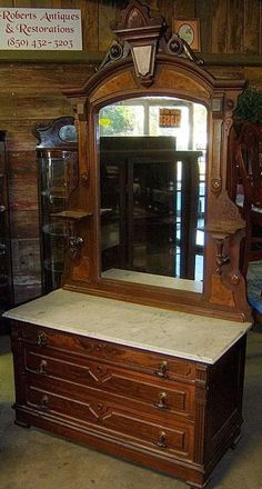 1800s Antique Victorian Dresser Chest of Drawers with Secret