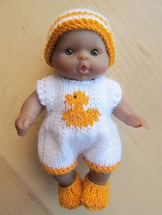 """KNITTING PATTERN DOLLS 7-8/"""" SCULPT BERENGUER ALL IN ONE SUIT HAT BOOTS"""