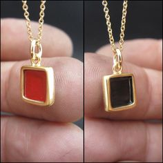 Red and Black Tiny Square Pendant Gold Vermeil by Mark Poulin Gold Pendant, Pendant Necklace, Artisan Jewelry, Red Black, Dog Tag Necklace, Usb Flash Drive, Jewelry Design, Pendants, Jewels