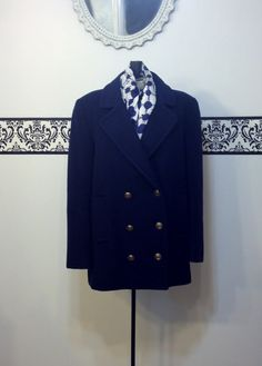 1950's Navy Blue Fine Wool Double Breasted by RetrosaurusRex