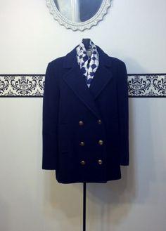 1950's Navy Blue Fine Wool Double Breasted by RetrosaurusRex, $98.00