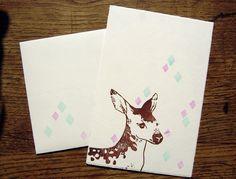 deer rosie postcard with envelope handprinted by SiebenMorgen