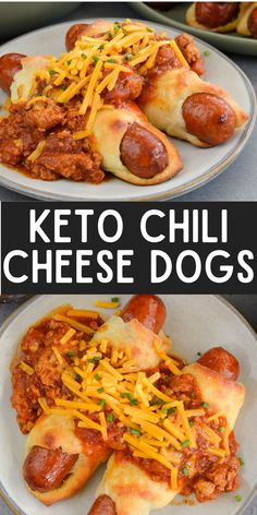These Keto Chili Cheese Dogs have everything you love about this classic, without the carbs! Easy, low carb, gluten free pigs in a blanket are smothered with keto chili and shredded cheddar cheese! For about 5 net carbs per serving this is a low carb recipe you will love! Low Carb Chili Recipe, Low Carb Recipes, Beef Recipes, Ketogenic Recipes, Ketogenic Diet, Cooking Recipes, Quick Dinner Recipes, Entree Recipes, Low Carb Quick Dinner