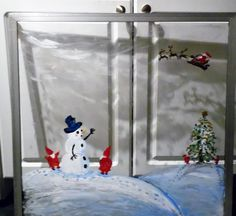 Another photo of the Snowman and elfs - painting. This is painted on a refurbished window glass. Window Glass, Painted Doors, Windows And Doors, Snowman, Paintings, Art, Art Background, Paint, Painting Art