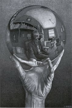 M.C. Escher (Hand with Reflecting Sphere, 1935 Lithograph)