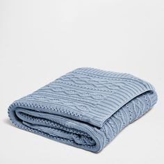 Blue Cable-Knit Cotton Blanket - Blankets - Bedroom   Zara Home Greece