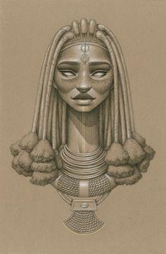 """Mukuru"" by Sara Golish Charcoal, conté gold ink on toned paper. 12.5"" x 19.5"" #Afrofuturism #Africa #SciFi #NaturalHair #BlackArt #Blackisbeautiful #Himba #jewelry #art #drawing"