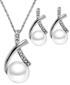 Sterling Silver Jewelry Set, Cultured Freshwater Pearl (6mm and 7mm) and Diamond Accent X-Shape Pendant and Earrings Set | 48% OFF