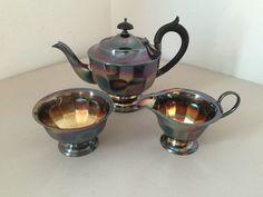 Vtg SHEFFIELD 3 Piece Tea Coffee Set Silverplate EPNS Teapot Sugar Creamer Color #Sheffield
