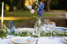 An Intimate Vintage Boho Wedding via TheELD.com. like the ferns on the table