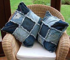 New Patchwork Jeans Diy Rag Quilt Ideas Diy Jeans, Jean Crafts, Denim Crafts, Sewing Pillows, Diy Pillows, Cushions, Throw Pillows, Decorative Pillows, Recycled Denim